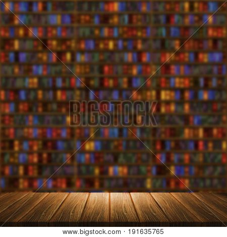 3D render of a wooden table looking out to a defocussed background with bookcase