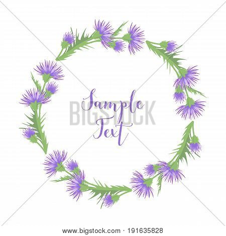 Vector illustration of thistle decoration with leaves on a white background