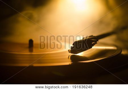 Turntable Vinyl Record Player. Retro Audio Equipment For Disc Jockey. Sound Technology For Dj To Mix