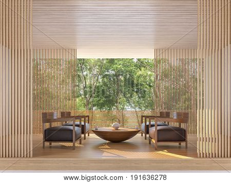 Modern contemporary living room with nature view 3d rendering image There are wooden floor and ceiling decorate wall with wood lattice Surrounded by nature