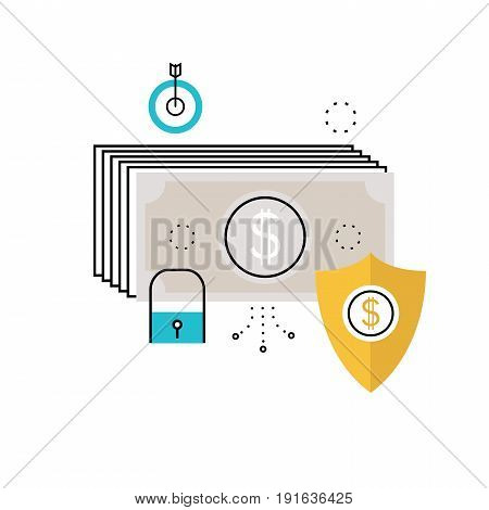 Financial security, bank account protection, fraud prevention, secure money transaction flat vector illustration design for mobile and web graphics