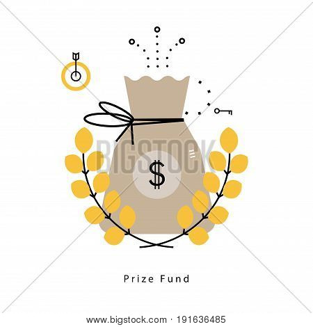 Prize fund, leadership, money savings, money sack with laurel wreath flat vector illustration design for mobile and web graphics