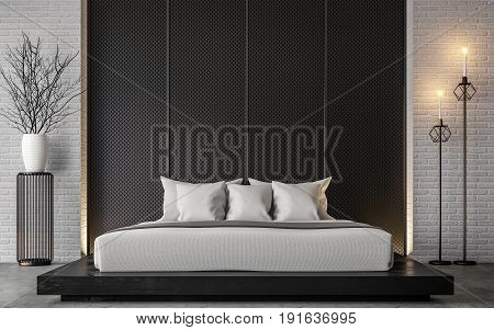 Modern loft bedroom 3d rendering image Furnished with Black wood furniture has concrete floor and white brick walls