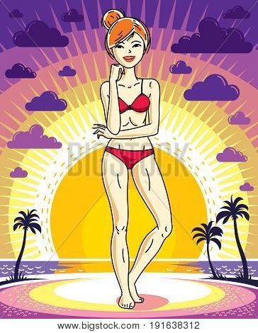 Attractive young redhead woman posing on background of sunset landscape with palms and wearing red bikini. Vector nice lady illustration. Lifetime theme clipart.