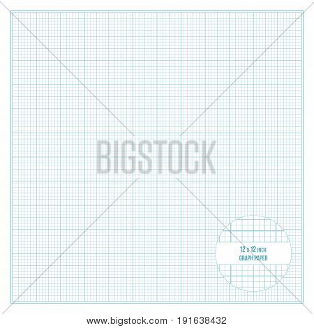 Vector blue printable graph paper 12x12 inch size grid accented every inch