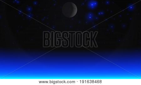 3D illustration of blue stars and atmospheric light.
