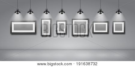 Empty pictures frames, wall template of gallery, museum or exhibition - Vector background