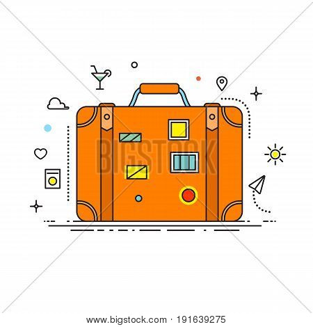 Suitcase with stickers liner design vector illustration flat design with lines icons. Illustration for banners, infographic and other design. Suitcase icon isolated on white background - stock vector.