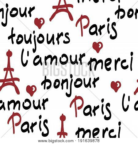 vector seamless pattern with handwritten french words. brush calligraphy. Paris toujours l'amour merci bonjour words.