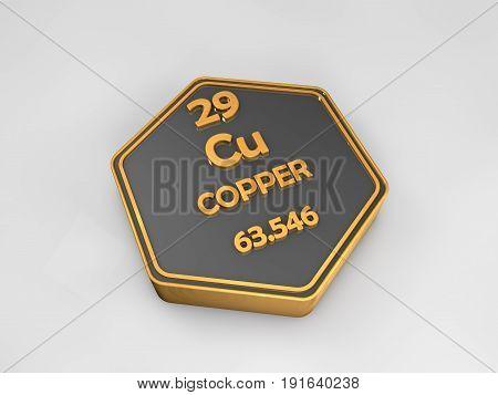Copper - Cu - chemical element periodic table hexagonal shape 3d render