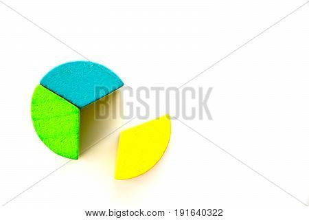 Colorful wooden toy block fulfill as round shape on white background