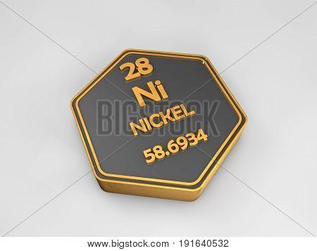Nickel - Ni - chemical element periodic table hexagonal shape 3d render