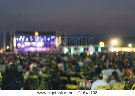 Bokeh lighting in concert with audience or Blurred background night concert