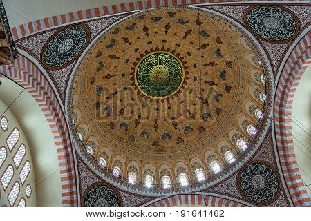 ISTANBUL, TURKEY - MAY 2, 2017: Detail of interior of Suleymaniye Mosque in Istanbul, Turkey. The mosque was constructed by Sinan for sultan Suleyman the Magnificent