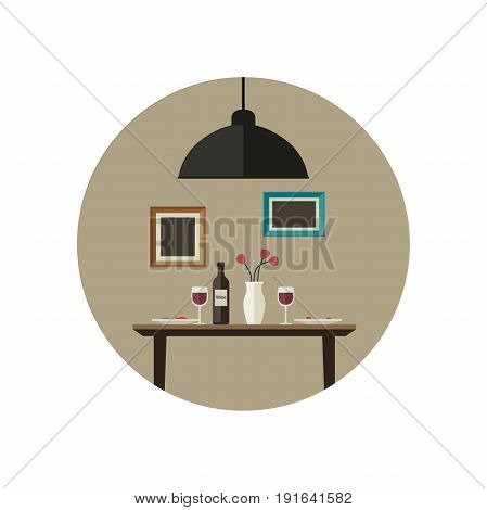 Dinner flat illustration. Interior of dinig room with table.