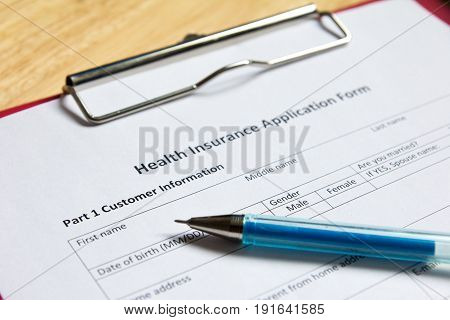 Health insurance form on file wait for filling background