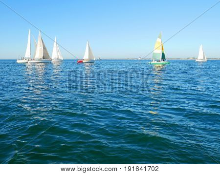 Yachts sailing on the sea. Yacht racing.