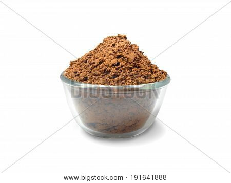 Cocoa powder in a cup isolated on white background (with clipping path)