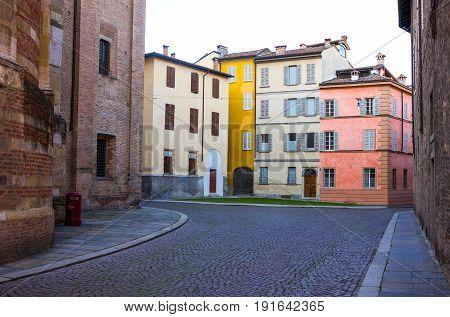 Parma colored houses of the Duomo quarter