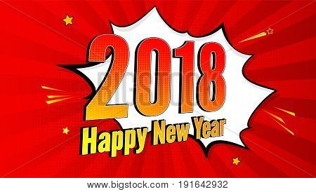 New Year pop art splash background, explosion in comics book style. 2018 holiday advertising signboard with halftone dots, cloud beams on red backdrop. Vector template for ad, covers, posters.