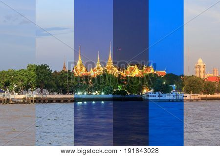 different shooting time of wat phra kaew in one frame