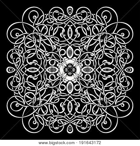 Celtic pattern, vector wicker ornament, hand drawing decorative element. White wicker weave on a black background for coloring book, monochrome illustration