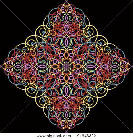 Celtic pattern, vector wicker ornament, hand drawing decorative element. Multicolored bright wicker weave on a black background