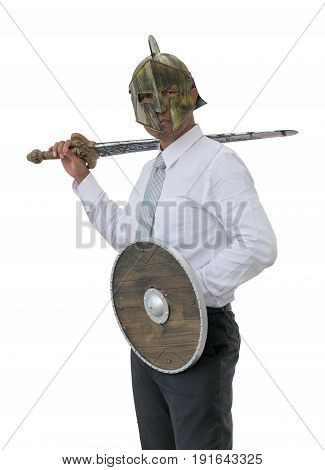 Knight businessman wearing an helm and steel sword. isolated background with clipping path.