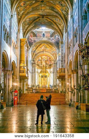 Parma Italy - November 29 2013: The Basilica Cathedra inside the central nave