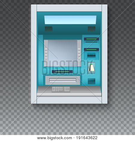 Bank Cash Machine. ATM - Automated teller machine with blank screen and carefully drawn details on transparent backdrop. Template for flyers, cover, presentation or poster.