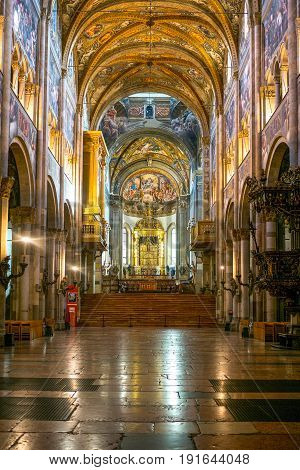 Parma Italy - November 29 2013: The Basilica Cathedral inside the central nave