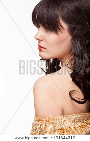 Expresive woman in studio portrait. Attractive model on white background