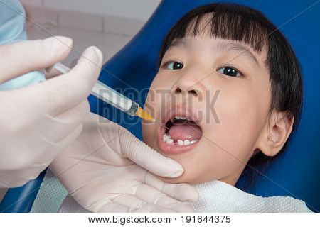 Asian Chinese Little Girl Lying Down For Tooth Extraction