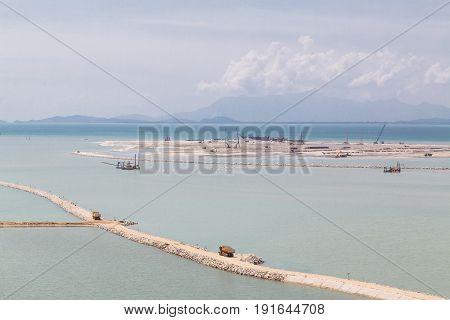 Sea Land Reclaiming Activity At Gurney Drive Penang Malaysia