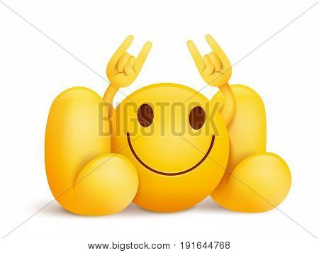 LOL title with yellow smiley face emoticon character. Vector illustration