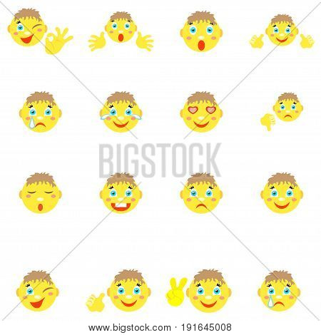 Smilies boys with different emotions and gestures. Set of 16 icons on a white background. Vector image in a cartoon style.