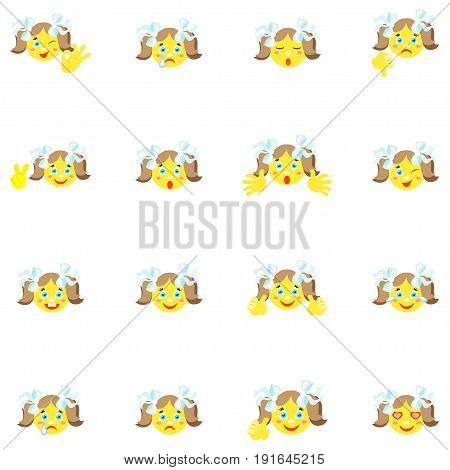 Smilies girl with different emotions and gestures. Set of 16 icons on a white background. Vector image in a cartoon style.