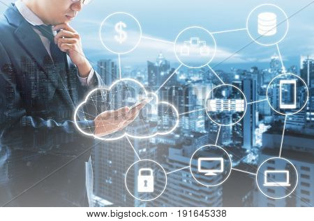 Double Exposure Of Professional Businessman Connected Cloud Technology With Internet And Wireless Ne