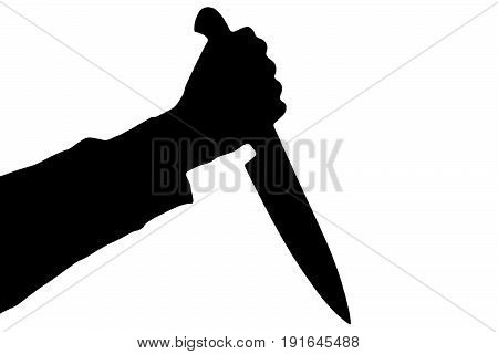 Isolated human hand with killing kitchen knife silhouette (shadow) on white background. Graphic resources for designers and criminal news and chronicles.