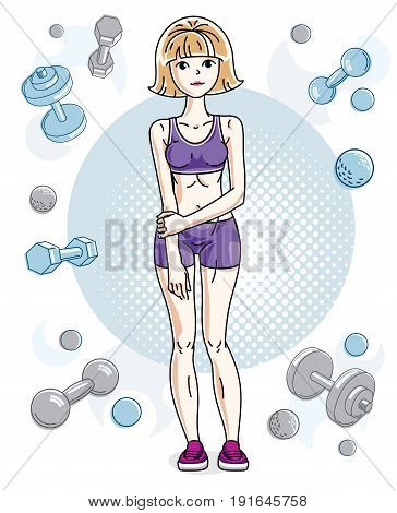 Young beautiful blonde athletic woman posing on simple background with dumbbells and barbells. Vector illustration of attractive female. Active and healthy lifestyle theme cartoon.