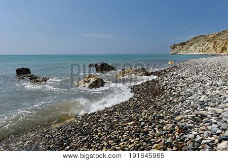 Pebble Stone Beach And Beautiful Tropical Sea. Summer Vacation Concept