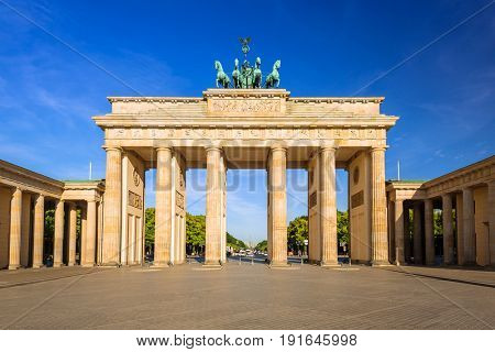 The Brandenburg Gate in Berlin at sunrise, Germany