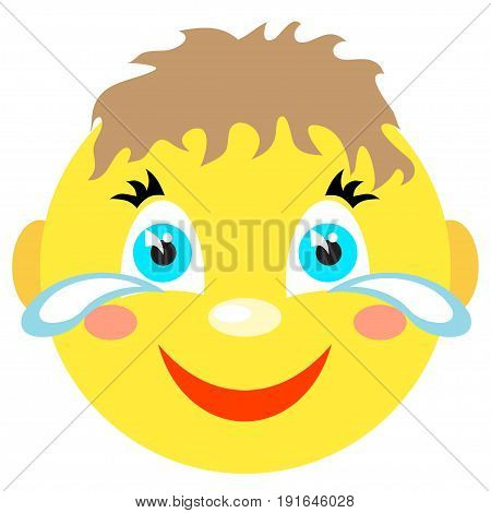 Smiley boy laughs and cries. Icons on a white background. Vector image in a cartoon style