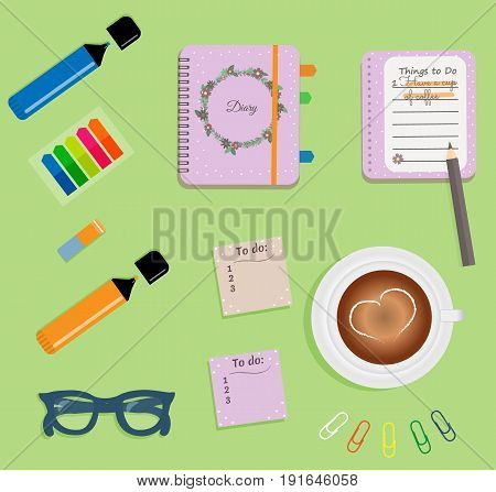 Stationery: Pink day planner spiral-bound with cute polka dots and flowers.Stiсkers. Markers Dark blue glasses.Pencil.Clips. A cup of coffee with a heart. Vector illustration.