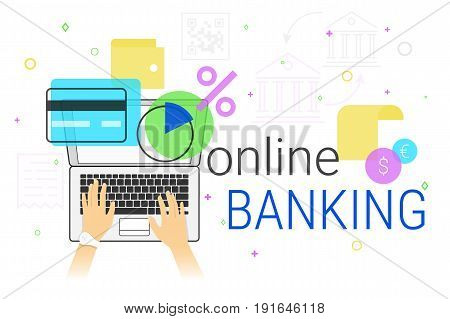 Online banking and accounting on laptop creative concept vector illustration. Human hands typing on laptop keyboard for bank accounting, card managing, money sending, savings and making deposit online