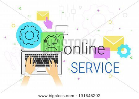 Online service and technical support on laptop concept vector illustration. Human hands typing on laptop keyboard for settings maintenance and online feedback support. Creative promo banner for tech