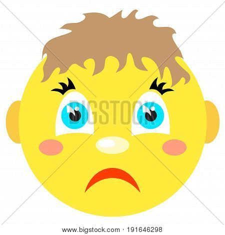 Sad smiley boy. Icons on a white background. Vector image in a cartoon style