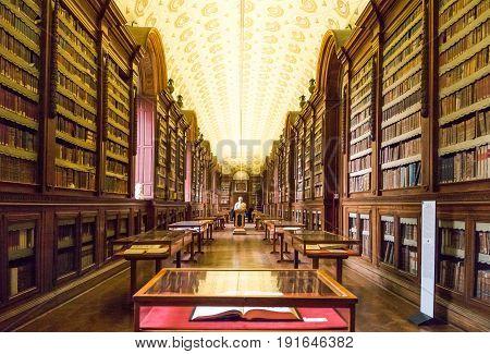 Parma Italy - October 19 2013: Della Pilotta palace the Palatine Library