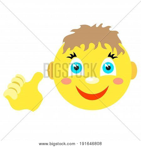 Smiley boy with a thumbs up gesture. Icons on a white background. Vector image in a cartoon style