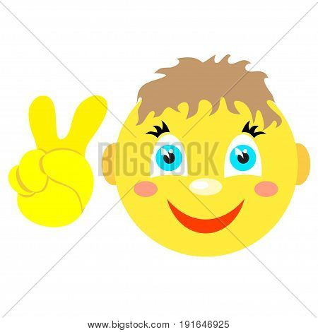 Smiley boy with Victoria gesture, V. Icons on a white background. Vector image in a cartoon style